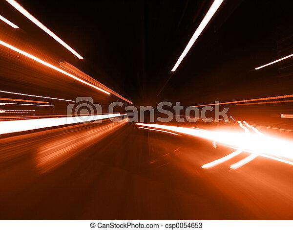 rua, vermelho, borrão - csp0054653