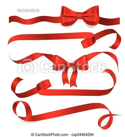 ruban, arrière-plan., rouges, brillant, blanc - csp34464294