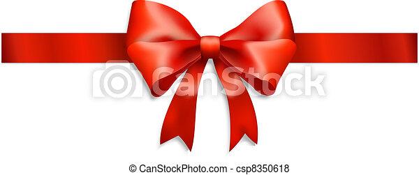 ruban blanc, isolé, arc rouge - csp8350618