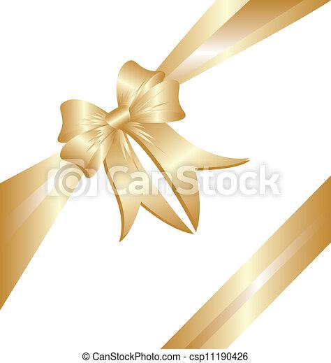 ruban or, cadeau, noël - csp11190426