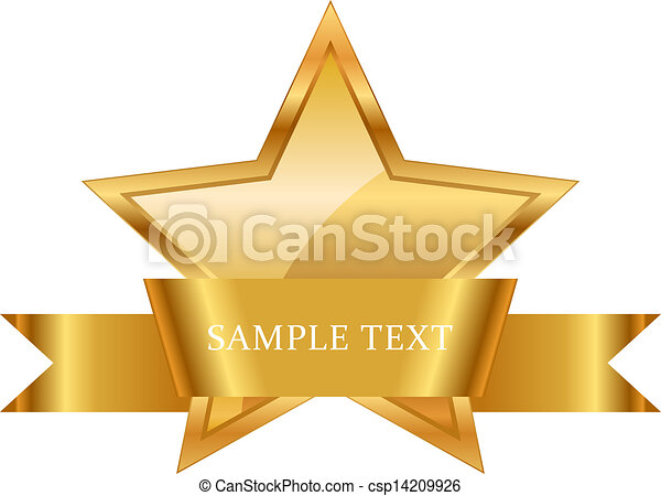 ruban, or, récompense, brillant, étoile - csp14209926