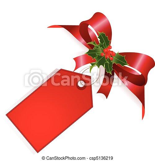 ruban rouge, étiquette - csp5136219