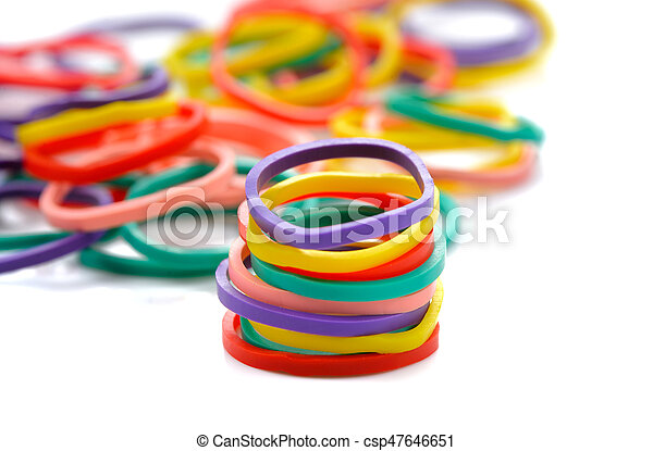 rubber band. Elastic bands on a white background - csp47646651