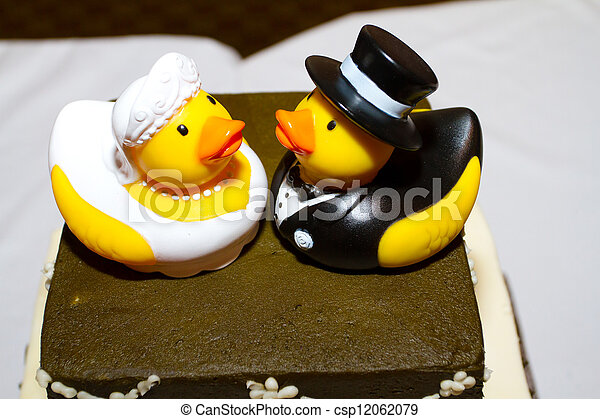 Rubber duck cake. Rubber ducks are the cake toppers for this wedding ...