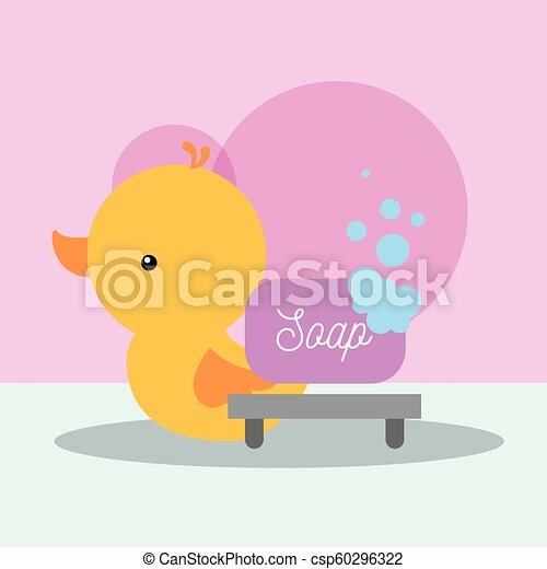 rubber duck toy and soap bubbles bathroom - csp60296322