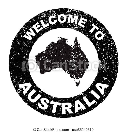 Rubber Ink Stamp Welcome To Australia - csp85240819