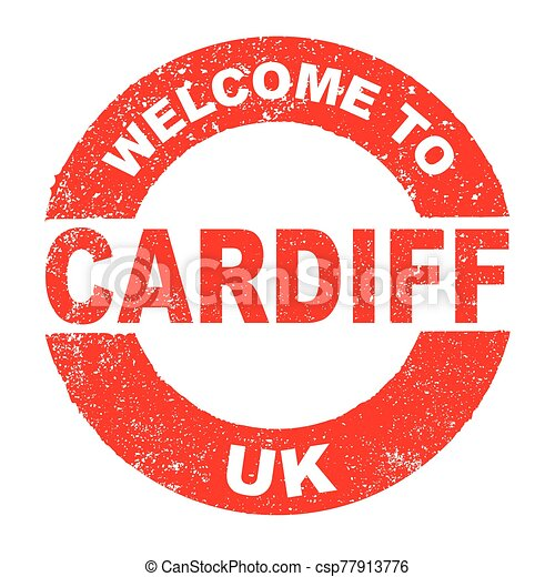 Rubber Ink Stamp Welcome To Cardiff UK - csp77913776
