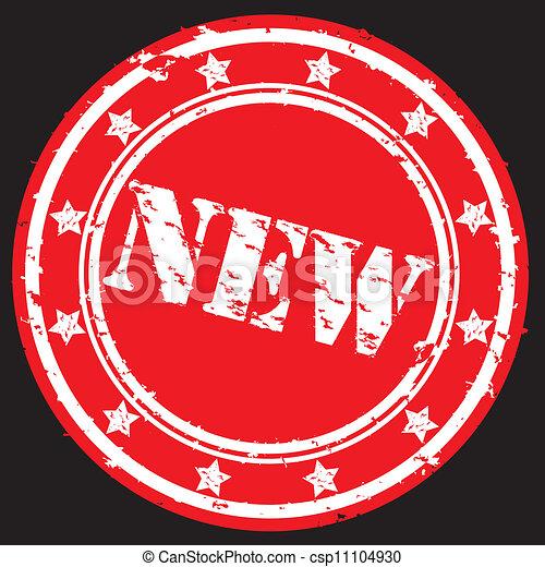 rubber, nieuw, vector, grunge, postzegel - csp11104930