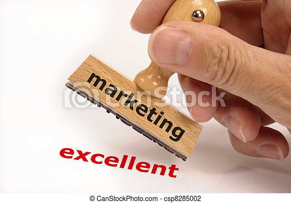 rubber stamp marked with marketing in hand and its copy excellent - csp8285002