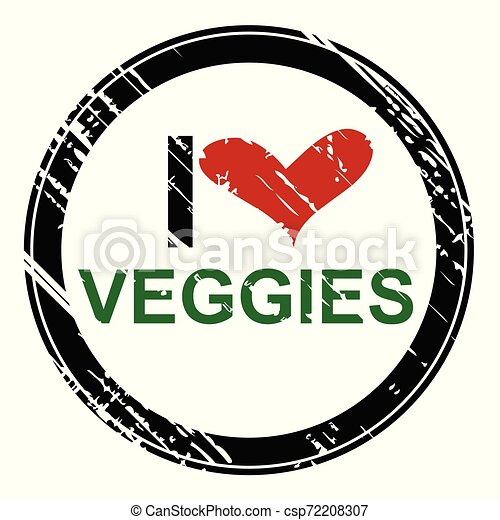 Rubber stamp with the text I love veggies - csp72208307