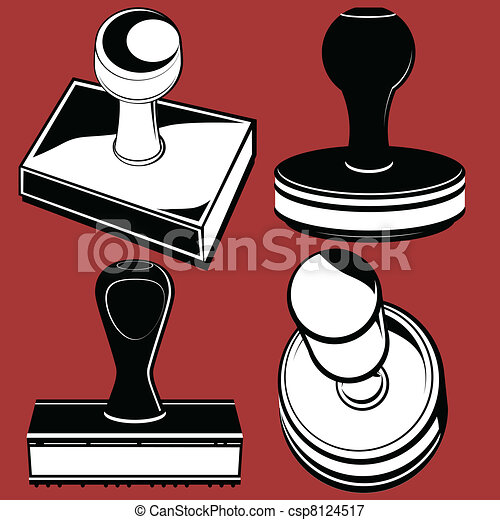 rubber stamps clip art of various rubber stamping tools