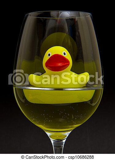 rubber, wijnglas, geel eende - csp10686288