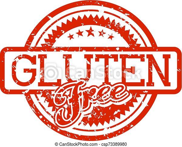 rubberstempel, gluten, kosteloos - csp73389980