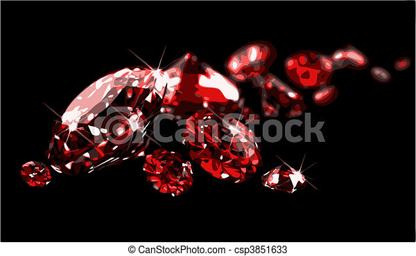Rubies on black surface (vector) - csp3851633
