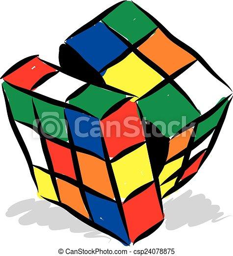 rubik cube illustration - csp24078875
