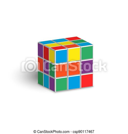 Rubik cube unsolved puzzle 3d isometric shape vector illustration isolated on white background. - csp90117467