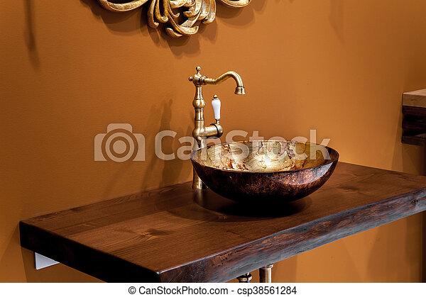 Rubinetto oro ceramica bagno disegno lavandino bagno foto cerca fotografie e foto - Rubinetto lavandino bagno ...