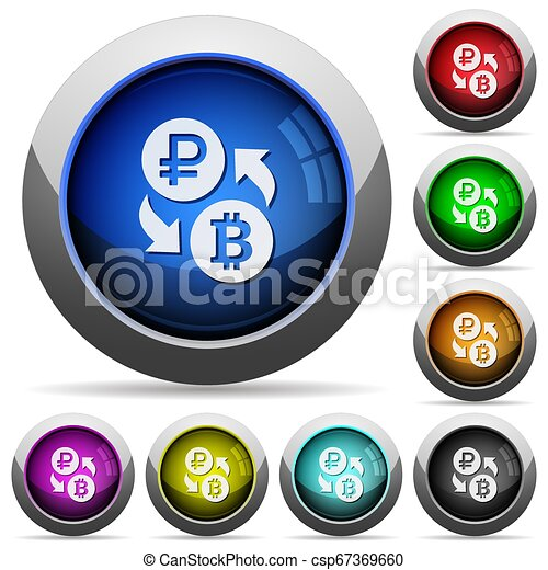 Ruble Bitcoin money exchange round glossy buttons - csp67369660