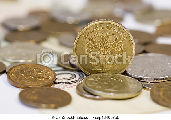 Ruble coins close up - csp13405756
