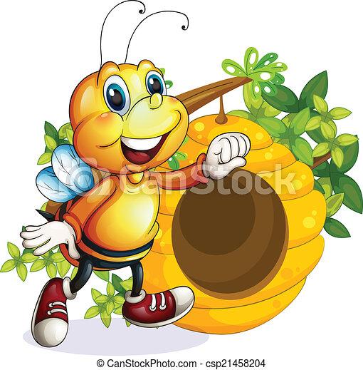 Ruche abeille ruche fond blanc illustration abeille - Dessin de ruche d abeille ...