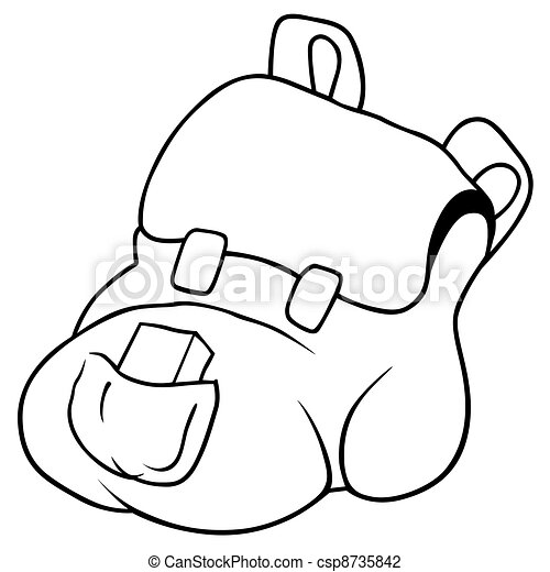 Abbildung rucksack vektor schwarz wei es karikatur - Coloriage sac a dos ...
