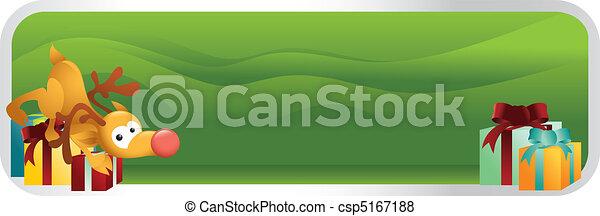 rudolph, bannière, noël, dessin animé - csp5167188