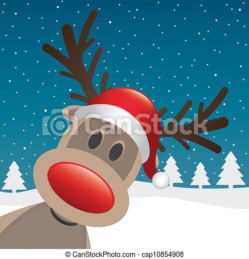 rudolph, cla, renne, nez, santa, rouges - csp10854908