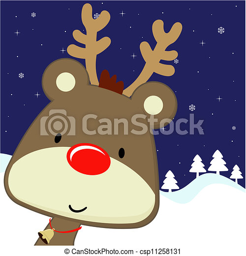 Rudolph Greeting Card Christmas Cute Baby Deer With Red Nose On