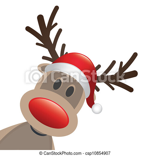 rudolph reindeer red nose and hat - csp10854907