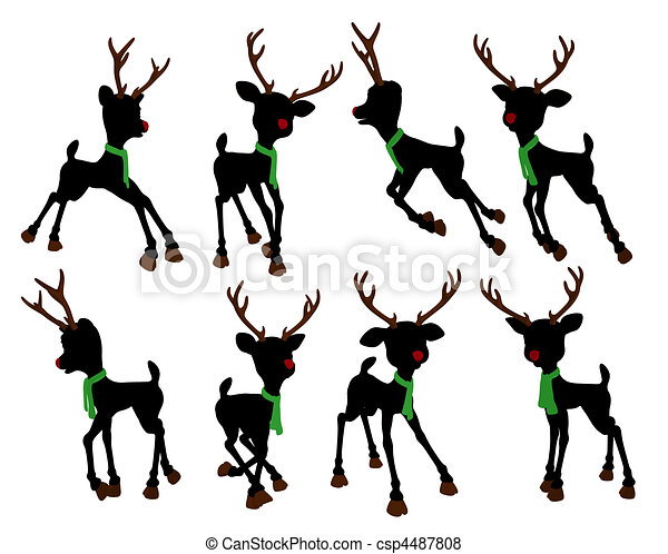 Rudolph The Red Nosed Reindeer Silhouette Illustration - csp4487808