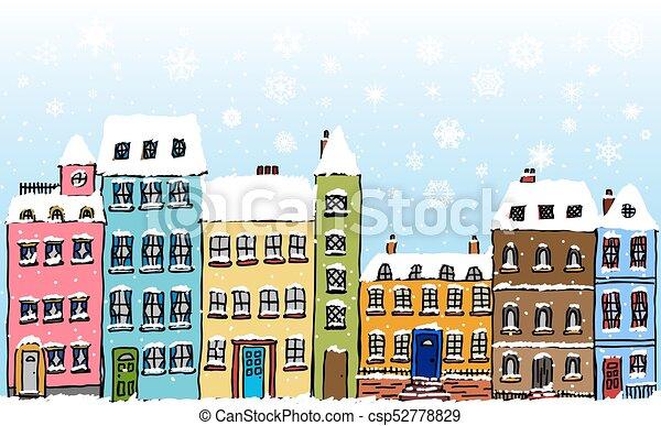 rue, flocons neige, dessin animé - csp52778829