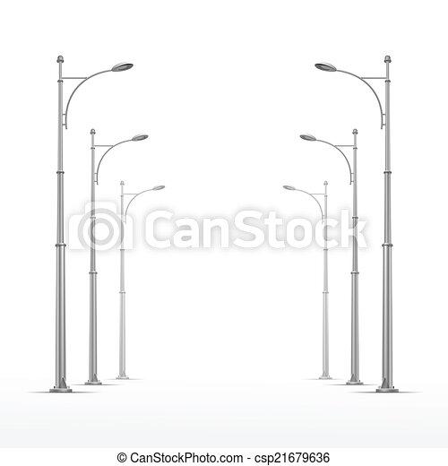 rue, isolé, lampe, vecteur, fond, blanc - csp21679636
