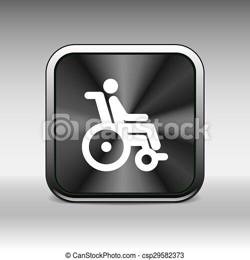 Una silla discapacitada accesible a un icono inválido - csp29582373
