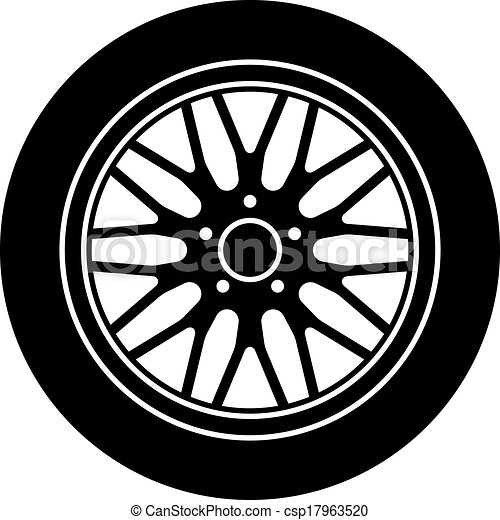 Rueda aluminio coche s mbolo vector negro blanco - Simbolo de aluminio ...