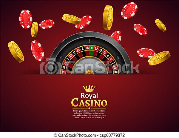 La ruleta del casino con fichas y monedas un cartel realista de carteles de apuestas. Ilustración de volantes de diseño de ruleta Casino Vegas - csp60779372