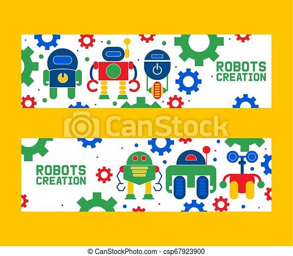 Los iconos de la creación de la robótica marcan los vectores de ilustración. Celebración. Tecnología de inteligencia artificial futurista. Gear, tornillo. Abróchate. Robot en rueda con armas. - csp67923900