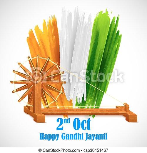 Rueda giratoria para Gandhi Jayanti - csp30451467