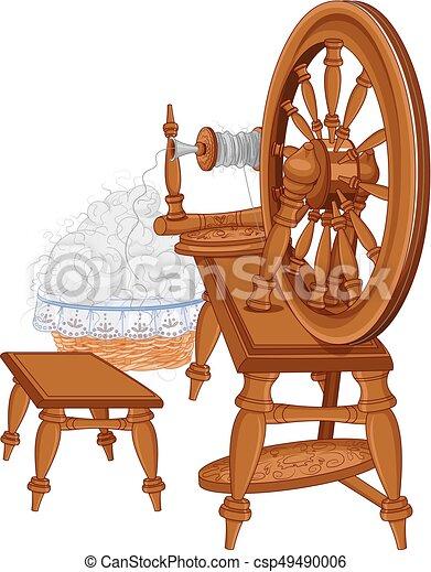 Vieja rueda giratoria y silla - csp49490006