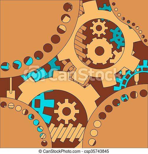 Trasfondo de mecanismo con ruedas densas y engranajes. - csp35743845