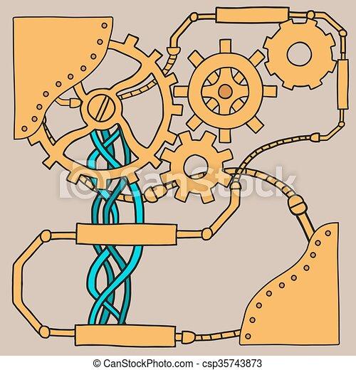 Trasfondo de mecanismo con ruedas densas y engranajes. - csp35743873