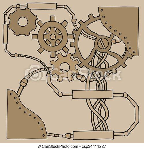 Trasfondo de mecanismo con ruedas densas y engranajes - csp34411227