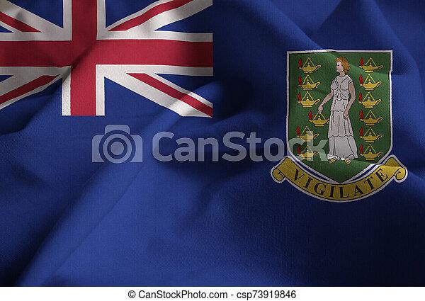 Ruffled Flag of British Virgin Islands Blowing in Wind - csp73919846