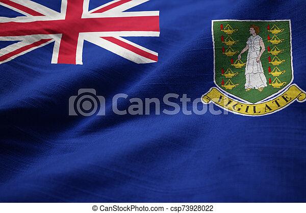 Ruffled Flag of British Virgin Islands Blowing in Wind - csp73928022