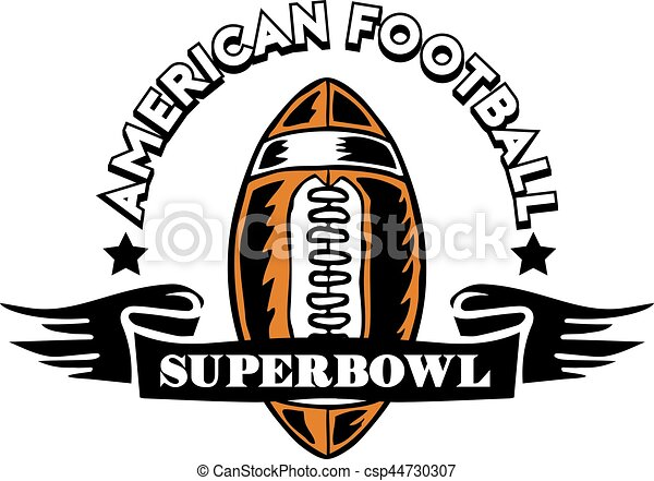 rugby ball badge vector illustration of super bowl american rh canstockphoto ca super bowl clip art free superbowl clip art 2017