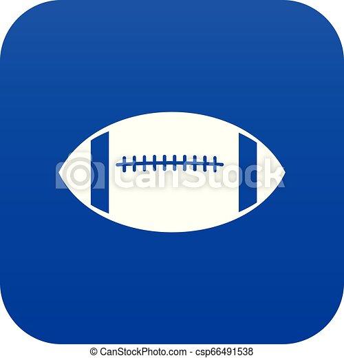 Rugby ball icon digital blue - csp66491538