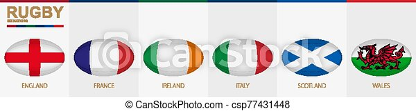 Rugby ball icon with flag of England, France, Ireland, Italy, Scotland and Wales. - csp77431448