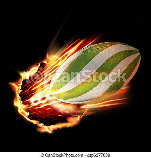 Rugby ball through fire - csp6377639