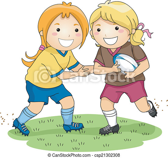 Rugby girls. Illustration of a pair of girls playing rugby.