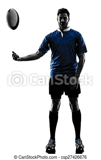 rugby man player silhouette - csp27426676