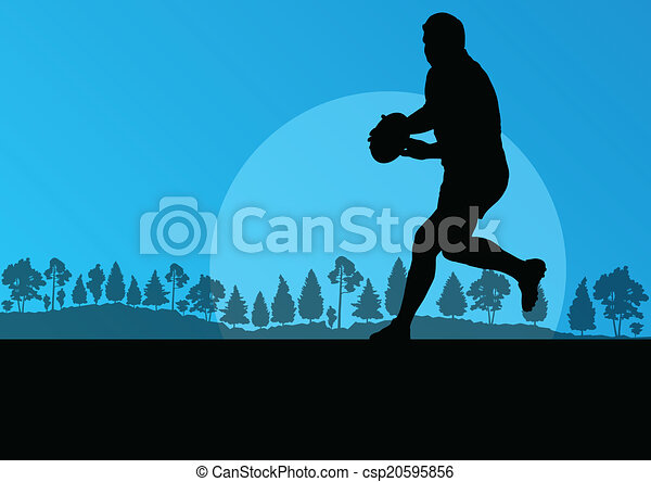 rugby, nature, campagne, il, fond, silhouette, jouer, homme - csp20595856